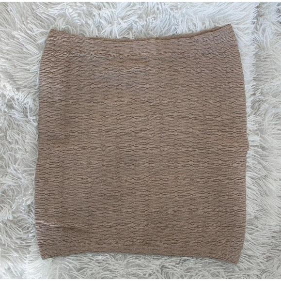 Boohoo Dresses & Skirts - Women's NEW Taupe Textured Bodycon Mini Skirt, S/M